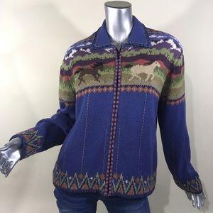 Icelandic Design Cardigan Full Zip Sweater Horses